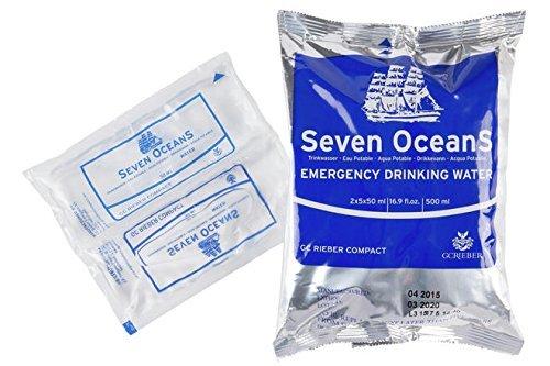 Nahezu unzerstörbare Trinkwasserkonserve im super Surivalpack - Seven Oceans - Emergency Drinking Water, 5x100ml Trinkwasser, (unbegrenzt haltbar) ohne chemische Zusätze, Nottrinkwasser. (Wird Weltweit erfolgreich bei Katastrophen eingesetzt) Trink Wasser