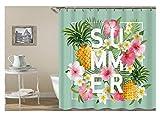 AnazoZ Duschvorhang Anti-Schimmel, Wasserdicht Vorhänge an Badewanne Antibakteriell, Bad Vorhang für Dusche 3D Sommer Ananas Blumen, 100% PEVA, inkl. 12 Duschvorhangringen 120 x 180 cm