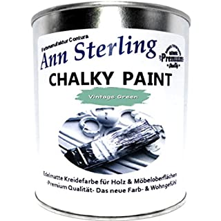 Ann Sterling Kreidefarbe Shabby Chic Farbe: Vintage Green / Grün / 750ml. 1 Kg Lack Chalky Paint