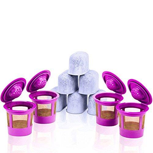 rwendbar K Tassen, 6Ersatz anthrazit Wasser Filter + Bonus 50Einweg Papier Filter für Keurig 2.0& Classic 1.0Brauer ()