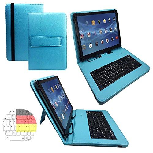 Allview Viva H1001 LTE - Qwertz Tastatur Tablet Tasche 10.1 mit Standfunktion - Deutsche Tastenbelegung - 10.1 Zoll Türkis Tastatur