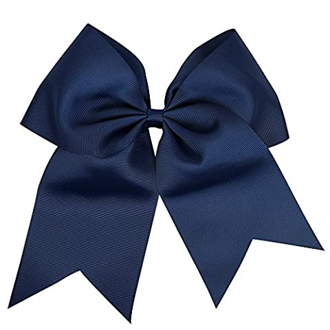 6 Inches Boutique Super Big Huge Large Grosgrain Ribbon Hair Bows Hair Tie Elastic Band Headband Girls Pigtail Holder (Navy Blue)