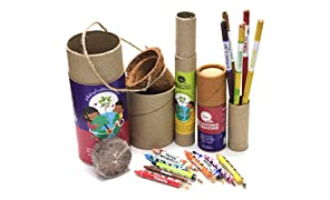 bioQ Eco Friendly Mini Grow Kit | Includes : Mini Coco Pot & Coco Peat, 1 Box of 9 Plantable Crayons & 1 Box of 5 Seed Pencils | Gift Set That Helps Grow Plants from Pencils & Crayons