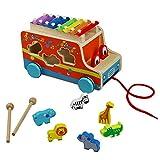 Bus Ziehen und Holz Tiere Blöcke Spielzeug mit Xylophone Stecktiere Nachziehspielzeug für Kinder Jungen und Mädchen