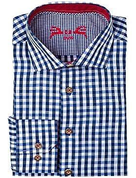 OS-Trachten Herren Trachtenhemd langarm blau SLIMFIT Jochen 112559