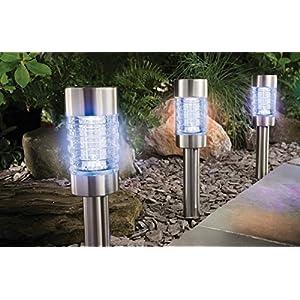 6er Set Solar Gartenleuchten aus Edelstahl   hochwertige Garten Beleuchtung mit Erdspieß und Lichtsensor   40 cm hoch, 6 cm Durchmesser   strahlende kaltweiße LED   6 Solar Lampen inkl. NiMH-Akkus