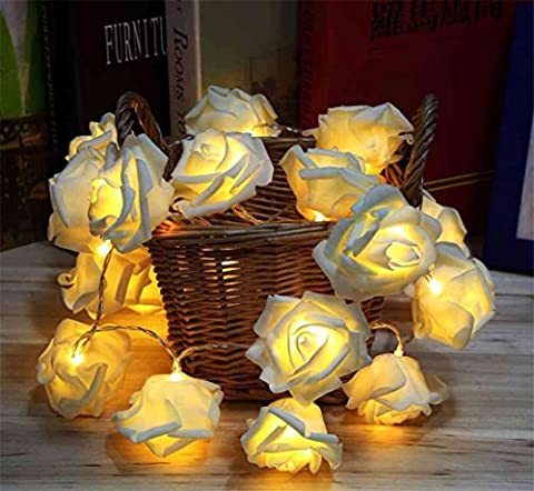 Lerway 2.2M Rose Fairy Flower Flexible 20 LED String Lights for Gardens, Lawn, Patio, Christmas Trees, Weddings, Parties, Bar, Club, Indoor and Outdoor Decoration (Warm White Light)