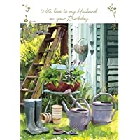 Greeting Card (LD4052) - Husband Birthday - In the Garden - Wellies and Watering Cans - Foil Finish