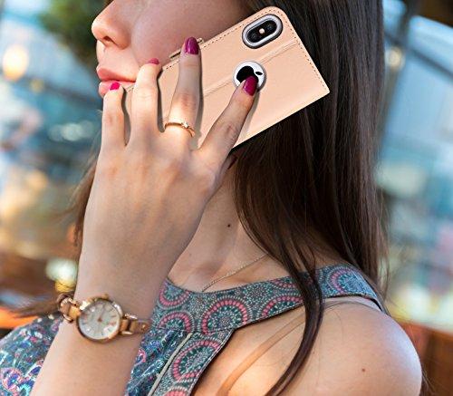 Cover iPhone X, Custodia iPhone X, Fyy® [RFID Blocco Portafoglio] [Custodia Genuina] 100% Custodia Protettiva Portafoglio da Mano per Carta di Credito iPhone X Edition Nero G-Albicocco