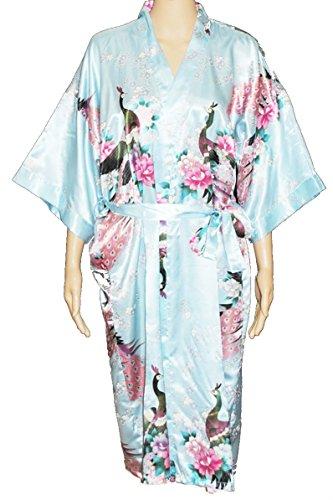 Kimono Robe de chambre longue motif de paon artificielle soie Beaucoup de couleurs Bleu Sky