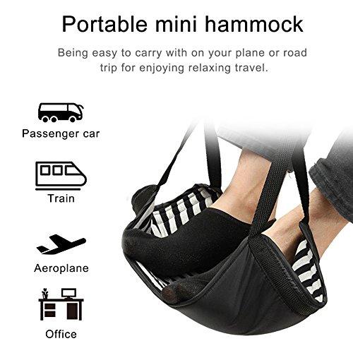Kuke Fußstütze Tragbare verstellbare Füße Hängematte mit Memory-Schaum, Knie Leid bietet Entspannung und Komfort für Flugzeug Reise Büro Auto Home