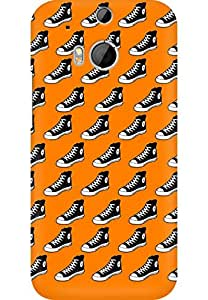 AMEZ designer printed 3d premium high quality back case cover for HTC One M8 (Canvas Shoes In Orange Pattern)