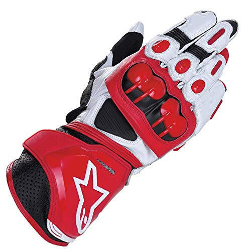 alpinestars guanti ZXT Motorcycle Long Gloves Racing Driving Motorbike Guanti Originali in Pelle Bovina (Colore : White Red
