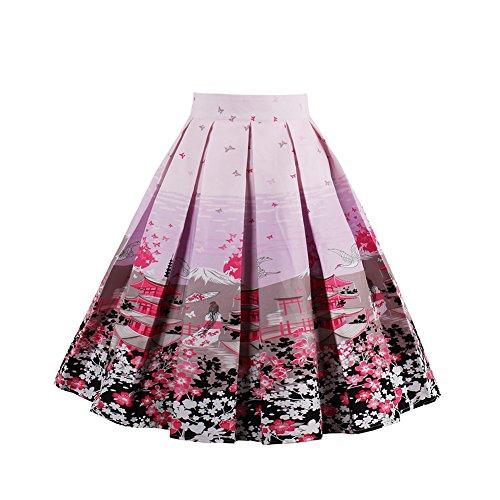 FeelinGirl Damen Elegant Faltenrock A-linie Rockabilly Röcke Chiffonrock mit Blumenmuster Knielang (Aqua-faltenrock)