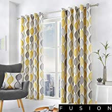 """Fusion - Lennox - 100% Cotton Ready Made Pair of Eyelet Curtains - 66"""" Width x 72"""" Drop (168 x 183cm) in Grey"""