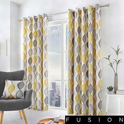 Cortinas geométricas amarillas y grises (117 x 137cm)