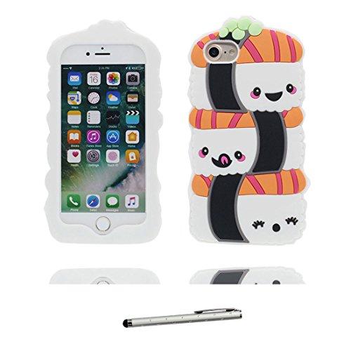 iPhone 6S Plus Custodia, morbida guarnizione TPU in gomma antigraffio protettiva Case copertura per iPhone 6s Plus /6 Plus 5.5 Cover + penna di tocco / Cartoon Progettato 3D Sushi Color 3