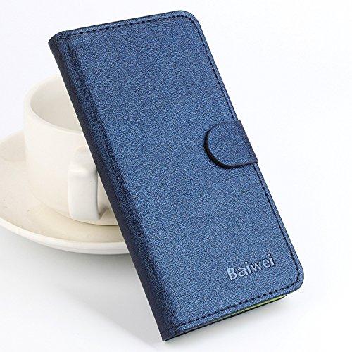 Baiwei Pu Leder Kunstleder Flip Cover Tasche Handyhülle Case für Elephone P6000 P6000 PRO Android 4.4 3G Smartphone Tasche Hülle Case Handytasche Handyhülle Etui (Blau Grün mit Halter)