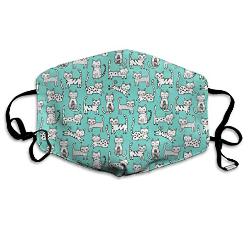 Cats with Stripes Mint Green Anti-dust Cotton Mouth Face Masks Reusable for Outdoor Half Face Masks