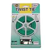 #5: Electomania® Plastic Twist Tie Wire Spool With Cutter For Garden Yard Plant 50m (Green)
