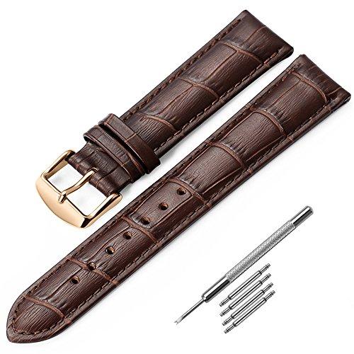 Leder Uhrenarmband 20mm iStrap Braun Ersatz Armband Rose Gold Pin Wölbung Präge Muster für Männer Frauen