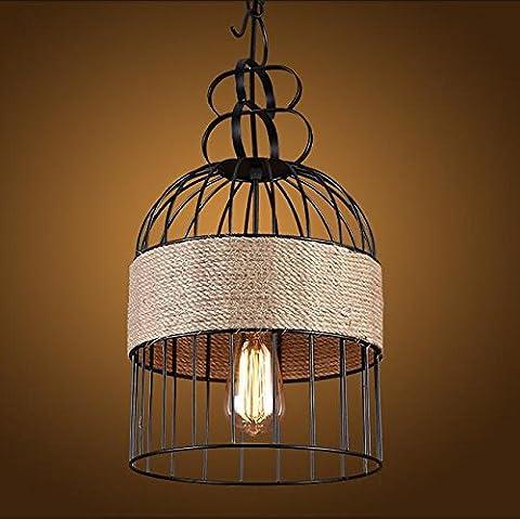SJMM Lustre rustique plafond luminaire contemporain Pendentif LED éclairage nouveau fer noir