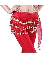 Jellbaby 3 rangées de 98 crédits mousseline ceinture danse du ventre de la jupe de danse du ventre