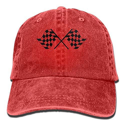 Checkered Racing Flags Cowboy Hip-Hop Hut Rear Deckel Adjustable Deckel