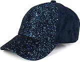 styleBREAKER gorra de 6 paneles con lentejuelas y ante, óptica de ante, gorra de béisbol, ajustable, de señora 04023050, color:Azul oscuro