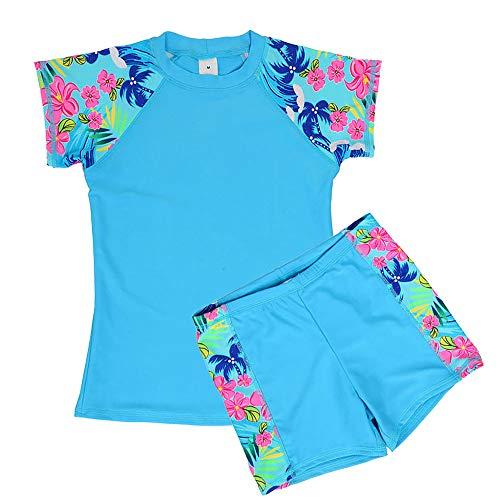 DUSISHIDAN Jungen Mädchen Schwimmbekleidung UV Schutz badeshirt Kinder Bademode Bade-Set Blau M