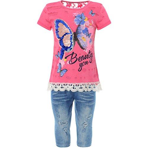 2tlg Mädchen Set Capri-Hose T-Shirt Outfit 21780, Farbe:Pink, Größe:104