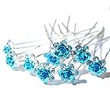 Outflower 20pcs Donne Bridal Clear Crystal Rhinestone Rosa Flower Clip di Capelli Accessori per Capelli Jewelry Hairpins, Lega, Blu, Style-A