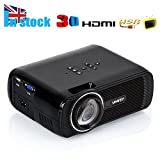 Film Projectors, URPIRE 1080P HD 3000 Lumens LED Home Theater Cinema Multimedia Mini Video Projectors for PC Laptop/XBOX/Smartphone (Black)