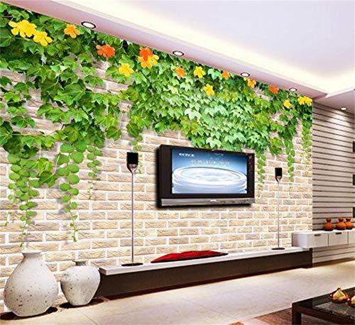 nutzerdefinierte 3D Fototapete Wohnzimmer Mural Blatt Blume Rattan Mauer Malerei Tv Hintergrundbild Für Die Wand 3D 200Cm X 100Cm ()