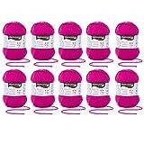 MyOma Restposten Wolle * 10x Schachenmayr Baby Smiles Merino Mix Fuchsia * Wolleset GÜNSTIG - 60% REDUZIERT - Restposten mit 10 Knäuel Babywolle in pink 500g + GRATIS Label Baby Smiles REDUZIERT