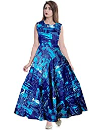 15dcb2d23f1 Mudrika Women Fit and Flare Rayon Fabric Printed A-Line Maxi Midi Western  Long Gown