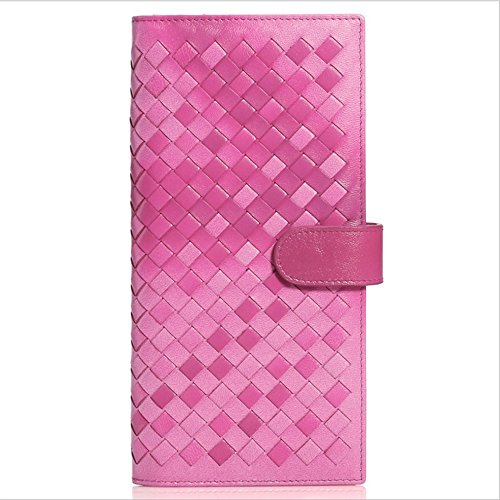 Cvbndfe Womens Clutch Wallet Damen Geldbörse Stricken Hand Leder Lange Leder Geldbörse lila schwarz grün rosa (Farbe : Rosa)