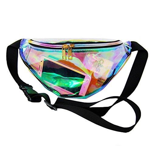 ashdown Women Fashion Waist Pack Bum Bags Fanny Pack PVC Semi-transparent Running Belt Money Pouch