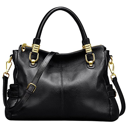 - 51fgfqybXNL - Jack&Chris Ladies Handbags and Purses Tote Bag for Women Leather Shoulder Bag, SF0951 (black)