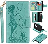 Cozy Hut® Schutzhülle / Cover / Handyhülle / Etui für LG Nexus 5X 5.2 Zoll Hülle, 3D Gemalte Entlastung Muster Design Folio PU Leder Schutzhülle Bookstyle mit 9 Kartenfächer PU Leder Hülle Wallet Case Folio Handyhülle Flip Cover Schale Tasche Brieftasche Bumper mit Kartenfächer und Magnetverschluss Handyhülle Case Flip Cover mit Frau und Katze Motiv für LG Nexus 5X - grün