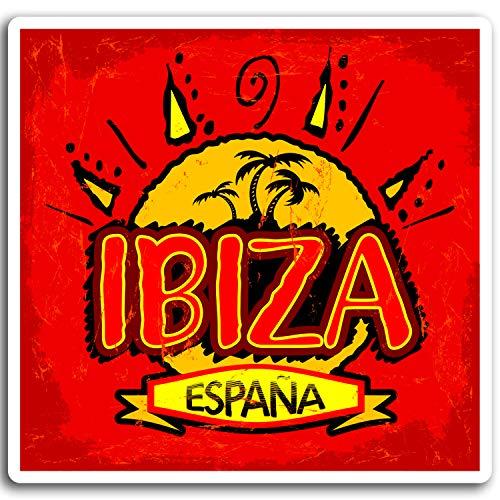 DestinationVinyl 2 x 10cm Ibiza Spanien Vinyl-Aufkleber - Reise Sun Aufkleber Laptop Gepäck # 17030 (10 cm breit) -