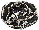 NB24 Versand Damen Loop Schal (a 630), randlos, schwarz mit weiß-braunen Ketten und hellblauen Ankern, Damenmode, Endlosschal, doppellagig, Schlauchschal, Damenbekleidung, Damenschal, Tuch