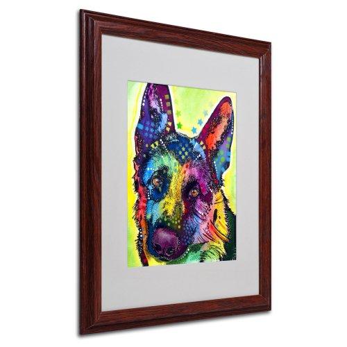 Markenzeichen Fine Art Deutscher Schäferhund mattierte Artwork von Dean Russo mit Holz Rahmen, 16 by - Russo Dean Artwork