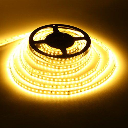 Led Streifen Leiste Lichtband Lichtleiste Strip Lampe Indirekte Beleuchtung Unterbauleuchte smd 600 LEDs TV Licht 12v netzteil 5m warmweiß 2800-3000k selbstklebend
