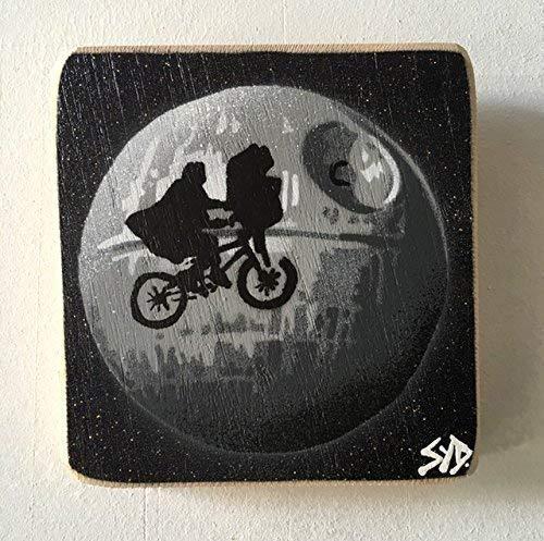 Todesstern, Krieg der Sterne, Death Star / Et Fusion Kunstwerk - Star Wars Spaß Malerei - handgefertigte Bild auf Eiche - 14 x 15 cm, signierte limitierte Auflage