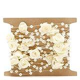 Manyo 5M Rolle Perlengirlande, Rose Blume und Faux Perle, 4 Farben für Pick, Ideale Dekoration für Hochzeit, Braut, Party, Zuhause, Bar. (Beige)