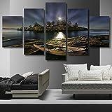 mmwin Moderne Toile Photo HD Imprimé Mur Art 5 Pièces Île Bateau Rive Nuit Paysage Salon Home Decor Affiche...