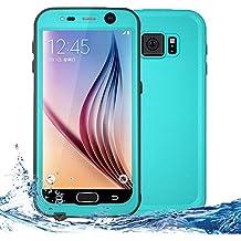 Carcasa resistente al agua para Galaxy S6, certificación IP68, completamente sellada, impermeable, a prueba de golpes y suciedad azul verdoso