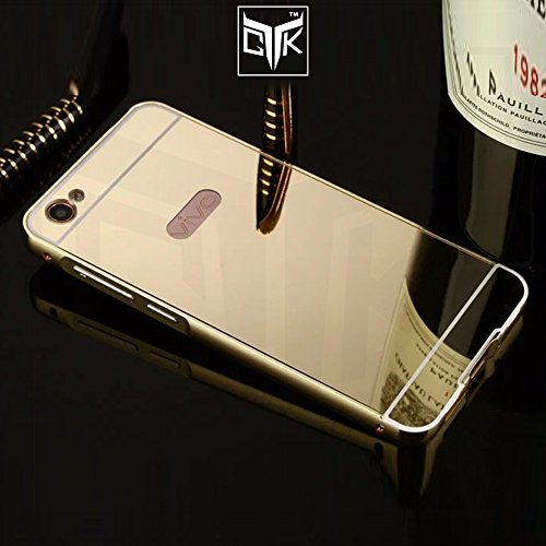 TheGiftKart™ ULTRA Premium Luxury Metal Bumper Acrylic Mirror Back Cover (Golden) for Vivo Y55L