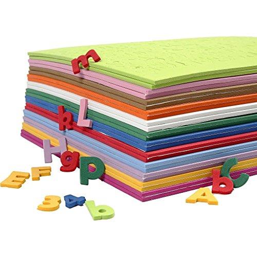 Letras y números de goma eva, A. 20 mm, grosor 3 mm, Surtido de colores, 24hojas surtidas